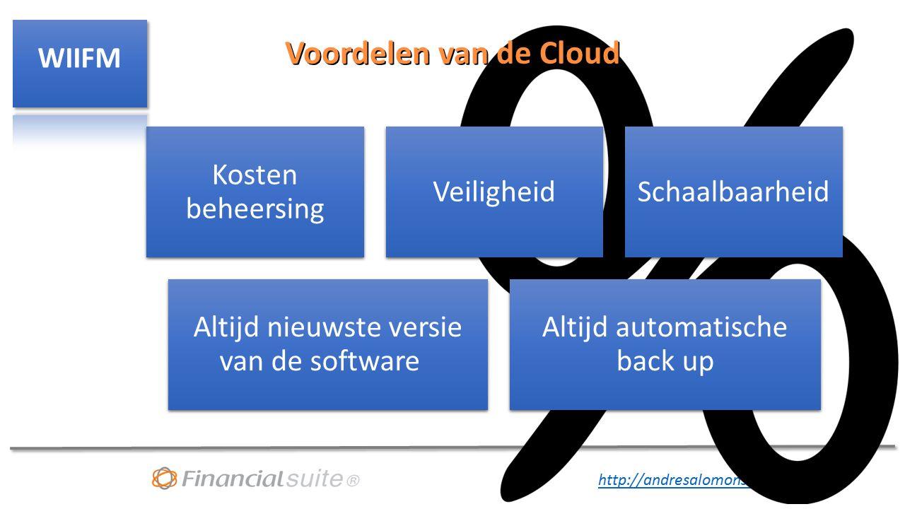 http://andresalomons.nl Voordelen van de Cloud Kosten beheersing VeiligheidSchaalbaarheid Altijd nieuwste versie van de software Altijd automatische back up