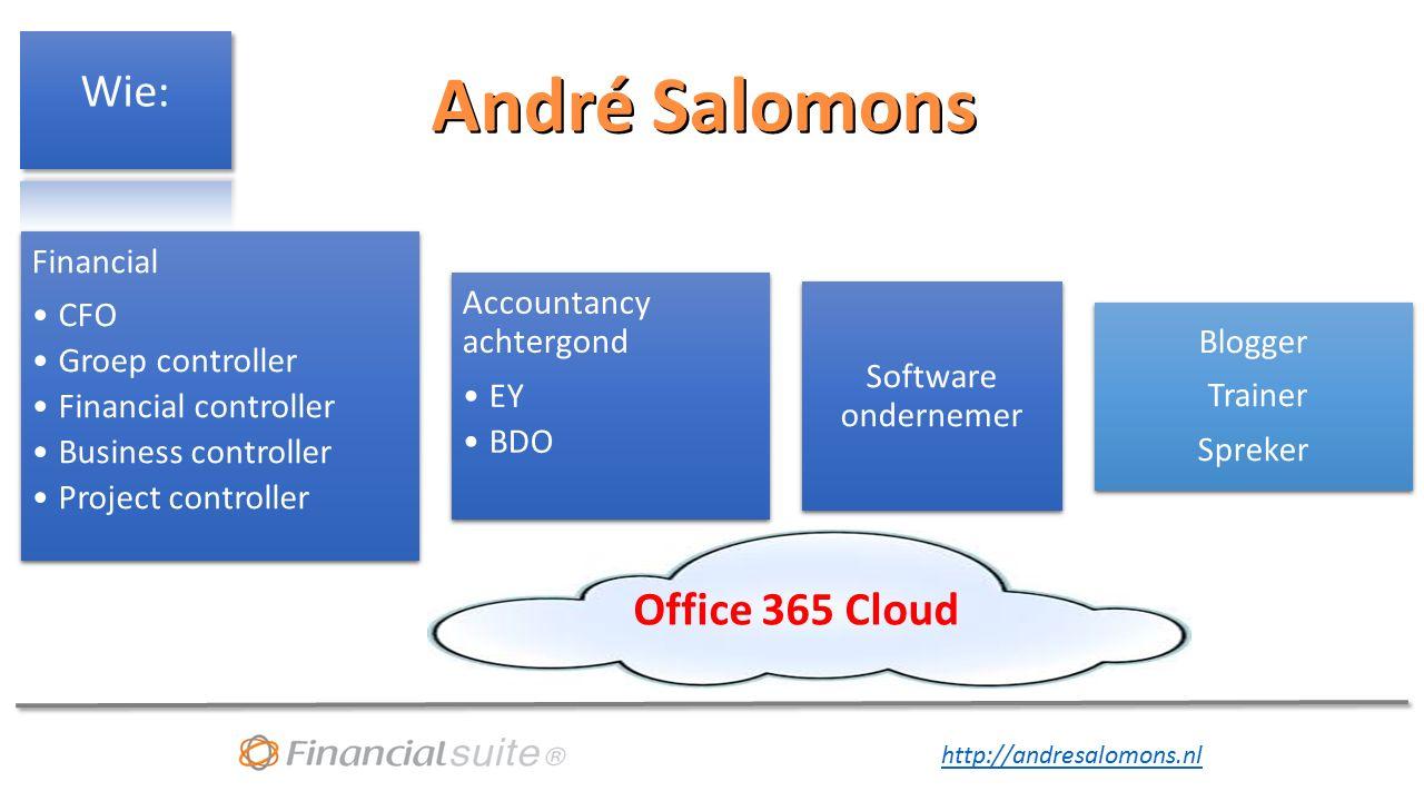 http://andresalomons.nl Voorbeeld van Cloud oplossing: Power tools van Microsoft ook voor de Business controller Power Query (Excel 2010-2013) Power Pivot (Excel 2010-2013) Power BI (Cloud Office 365) BIG DATA Online uitvragen, SharePoint lists, websites etc.