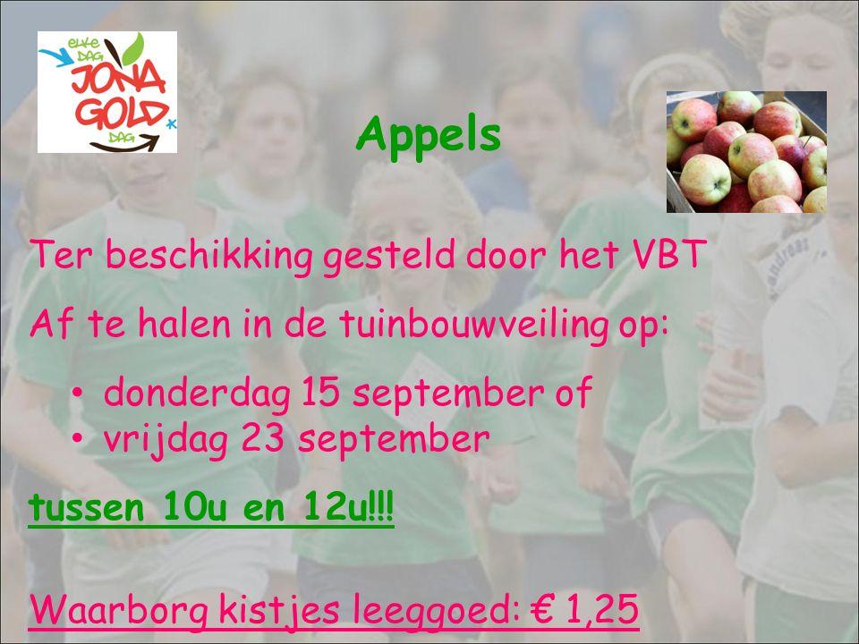 Appels Ter beschikking gesteld door het VBT Af te halen in de tuinbouwveiling op: donderdag 15 september of vrijdag 23 september tussen 10u en 12u!!!