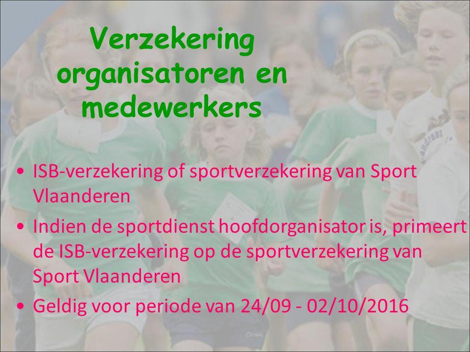 Verzekering organisatoren en medewerkers ISB-verzekering of sportverzekering van Sport Vlaanderen Indien de sportdienst hoofdorganisator is, primeert