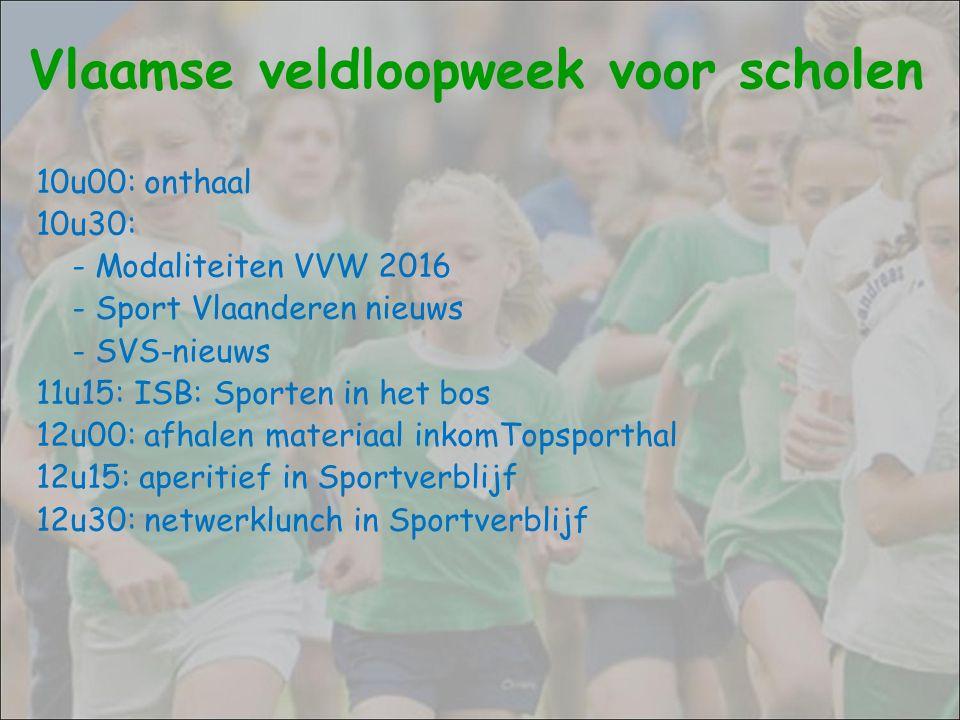 Vlaamse veldloopweek voor scholen 10u00: onthaal 10u30: - Modaliteiten VVW 2016 - Sport Vlaanderen nieuws - SVS-nieuws 11u15: ISB: Sporten in het bos