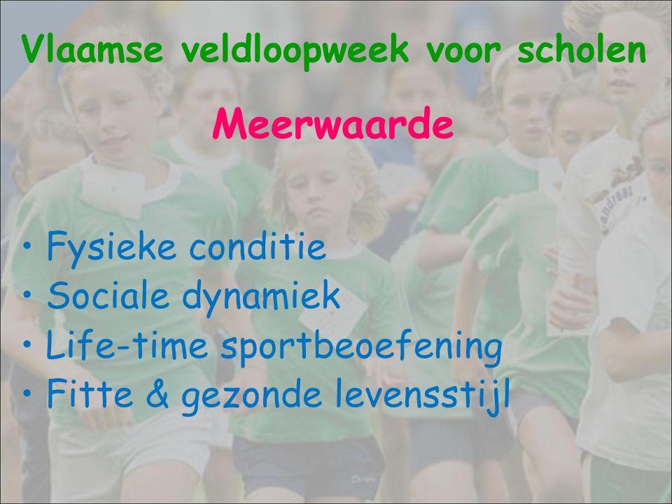 Deelnemende gemeenten : Antwerpen: 64 / 70 Limburg: 43 / 44 Oost-Vlaanderen: 60 / 65 Vlaams-Brabant/Brussel: 70 / 84 West-Vlaanderen: 60 / 64 TOTAAL: 297 / 327 Aantal voorinschrijvingen: 274 495 leerlingen = nieuw record Vlaamse veldloopweek voor scholen 24 september – 2 oktober 2016