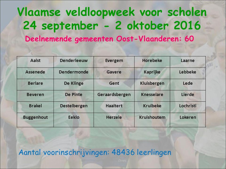 Deelnemende gemeenten Oost-Vlaanderen: 60 Aantal voorinschrijvingen: 48436 leerlingen Vlaamse veldloopweek voor scholen 24 september - 2 oktober 2016 LovendegemNazarethSt.