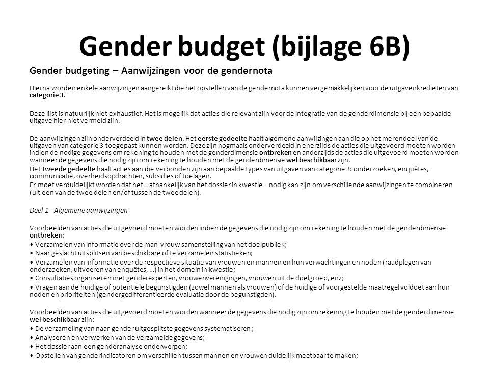 Gender budget (bijlage 6B) Gender budgeting – Aanwijzingen voor de gendernota Hierna worden enkele aanwijzingen aangereikt die het opstellen van de gendernota kunnen vergemakkelijken voor de uitgavenkredieten van categorie 3.