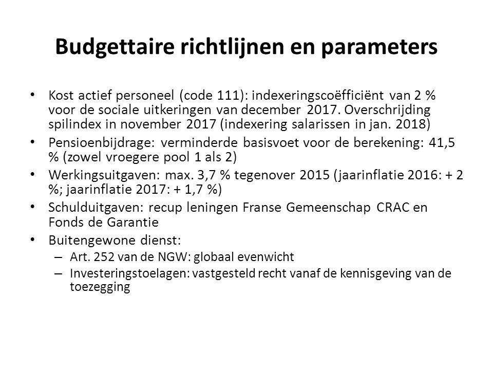 Budgettaire richtlijnen en parameters Kost actief personeel (code 111): indexeringscoëfficiënt van 2 % voor de sociale uitkeringen van december 2017.