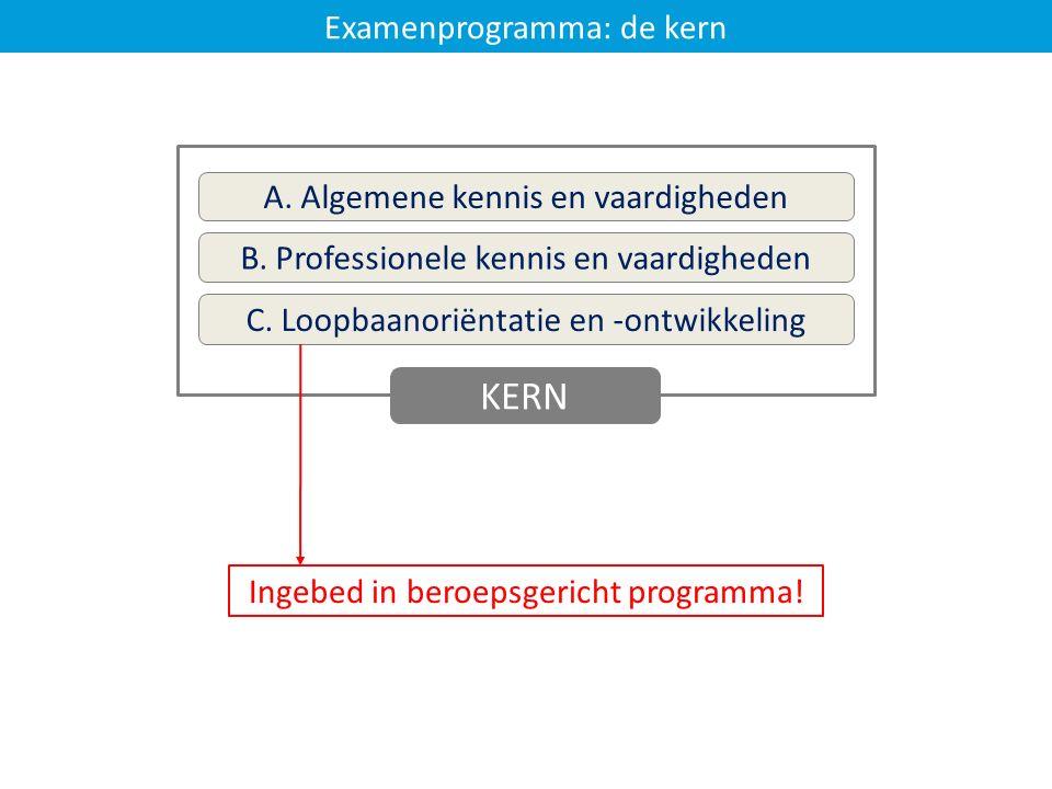 Examenprogramma: de kern A. Algemene kennis en vaardigheden B. Professionele kennis en vaardigheden C. Loopbaanoriëntatie en -ontwikkeling KERN Ingebe