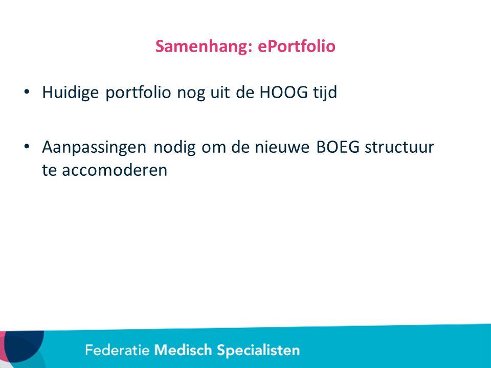 Samenhang: ePortfolio Huidige portfolio nog uit de HOOG tijd Aanpassingen nodig om de nieuwe BOEG structuur te accomoderen