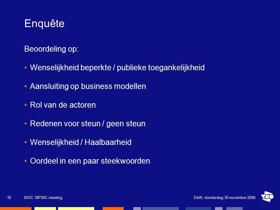 Delft, donderdag 30 november 2006ISOC SIPSIG meeting10 Enquête Beoordeling op: Wenselijkheid beperkte / publieke toegankelijkheid Aansluiting op business modellen Rol van de actoren Redenen voor steun / geen steun Wenselijkheid / Haalbaarheid Oordeel in een paar steekwoorden