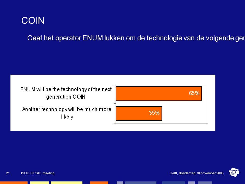 Delft, donderdag 30 november 2006ISOC SIPSIG meeting21 COIN Gaat het operator ENUM lukken om de technologie van de volgende generatie COIN te zijn of beschouwt u een andere technologie kansrijker