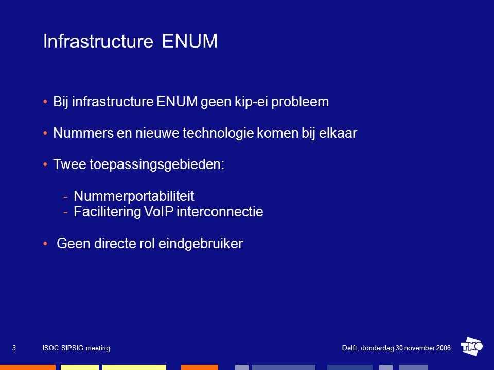 Delft, donderdag 30 november 2006ISOC SIPSIG meeting3 Infrastructure ENUM Bij infrastructure ENUM geen kip-ei probleem Nummers en nieuwe technologie komen bij elkaar Twee toepassingsgebieden: -Nummerportabiliteit -Facilitering VoIP interconnectie Geen directe rol eindgebruiker