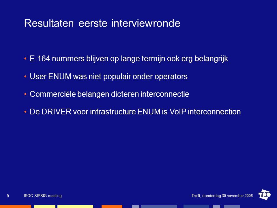 Delft, donderdag 30 november 2006ISOC SIPSIG meeting16 Visie op de toekomst