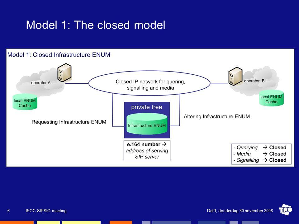 Delft, donderdag 30 november 2006ISOC SIPSIG meeting27 Contact Deze presentatie is gebaseerd op mijn afstudeerwerk gedaan bij TNO ICT.