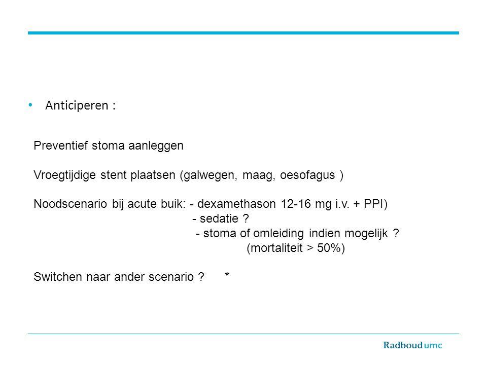 Anticiperen : Preventief stoma aanleggen Vroegtijdige stent plaatsen (galwegen, maag, oesofagus ) Noodscenario bij acute buik: - dexamethason 12-16 mg