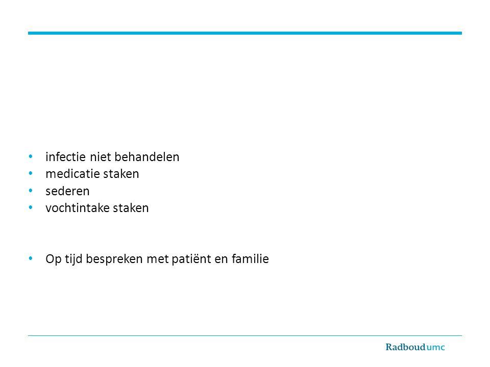 infectie niet behandelen medicatie staken sederen vochtintake staken Op tijd bespreken met patiënt en familie