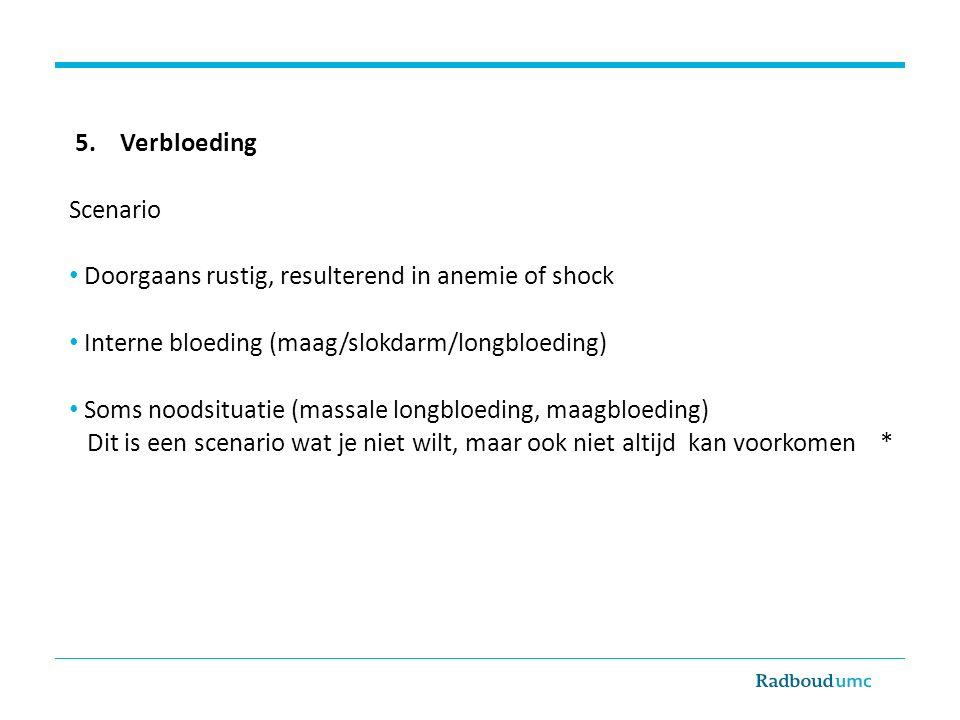 5. Verbloeding Scenario Doorgaans rustig, resulterend in anemie of shock Interne bloeding (maag/slokdarm/longbloeding) Soms noodsituatie (massale long