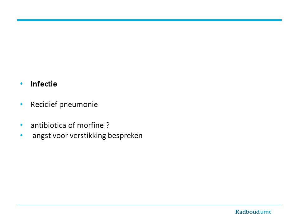 Infectie Recidief pneumonie antibiotica of morfine ? angst voor verstikking bespreken