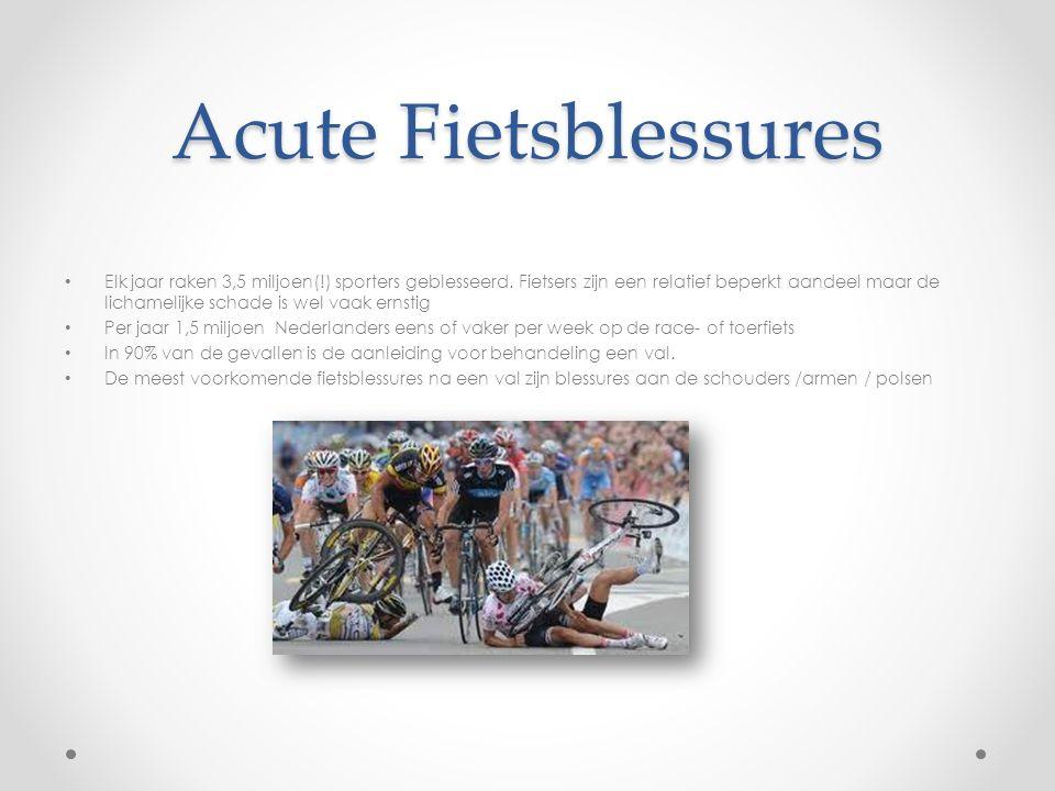 Acute Fietsblessures Elk jaar raken 3,5 miljoen(!) sporters geblesseerd. Fietsers zijn een relatief beperkt aandeel maar de lichamelijke schade is wel