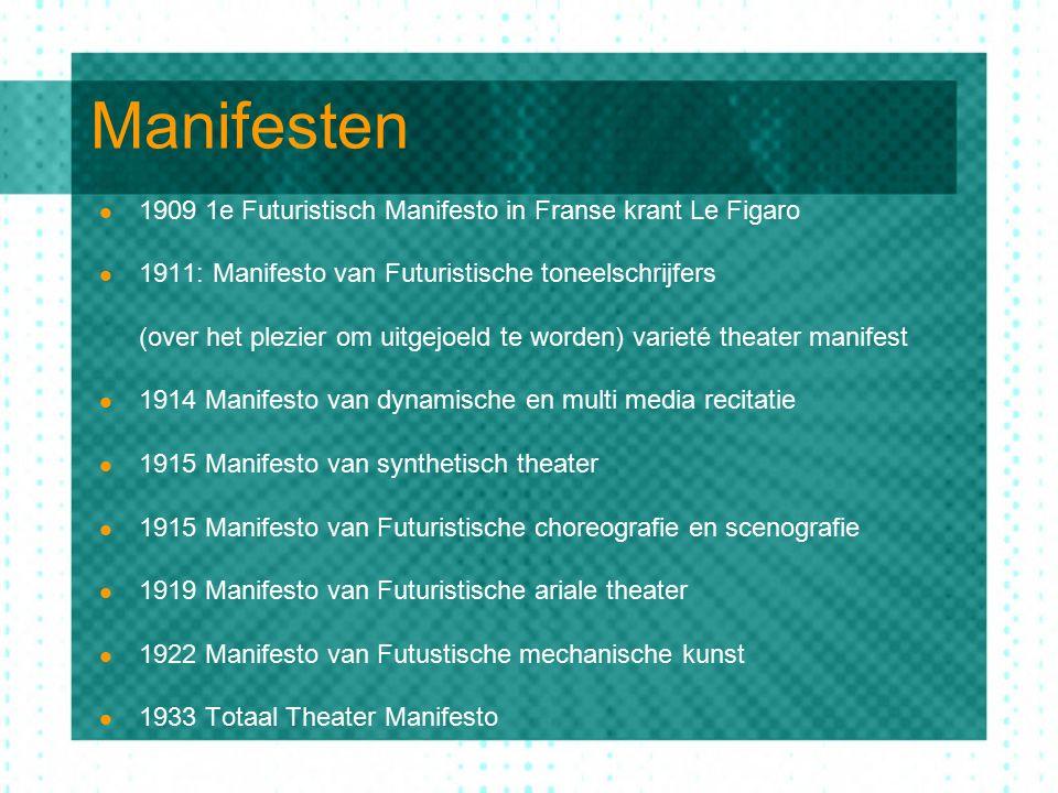 VORMEN EN LOCATIES 1.1910-1914 rond 20 Serate in theaters met 5000 plaatsen: Futuristische ideeën presenteren door: Lezing van manifesti Presentatie van artistieke voorbeelden hiervan Toen dit voorspelbaar begon te worden: 2.