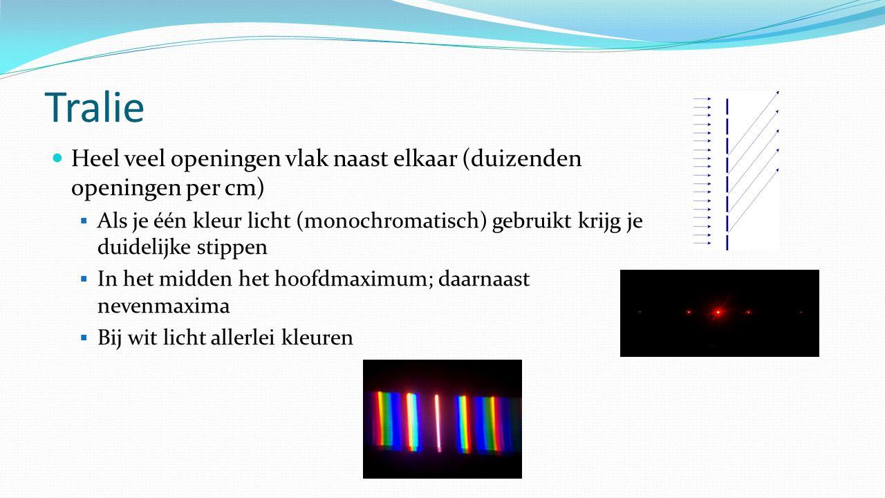 Tralie Heel veel openingen vlak naast elkaar (duizenden openingen per cm)  Als je één kleur licht (monochromatisch) gebruikt krijg je duidelijke stippen  In het midden het hoofdmaximum; daarnaast nevenmaxima  Bij wit licht allerlei kleuren