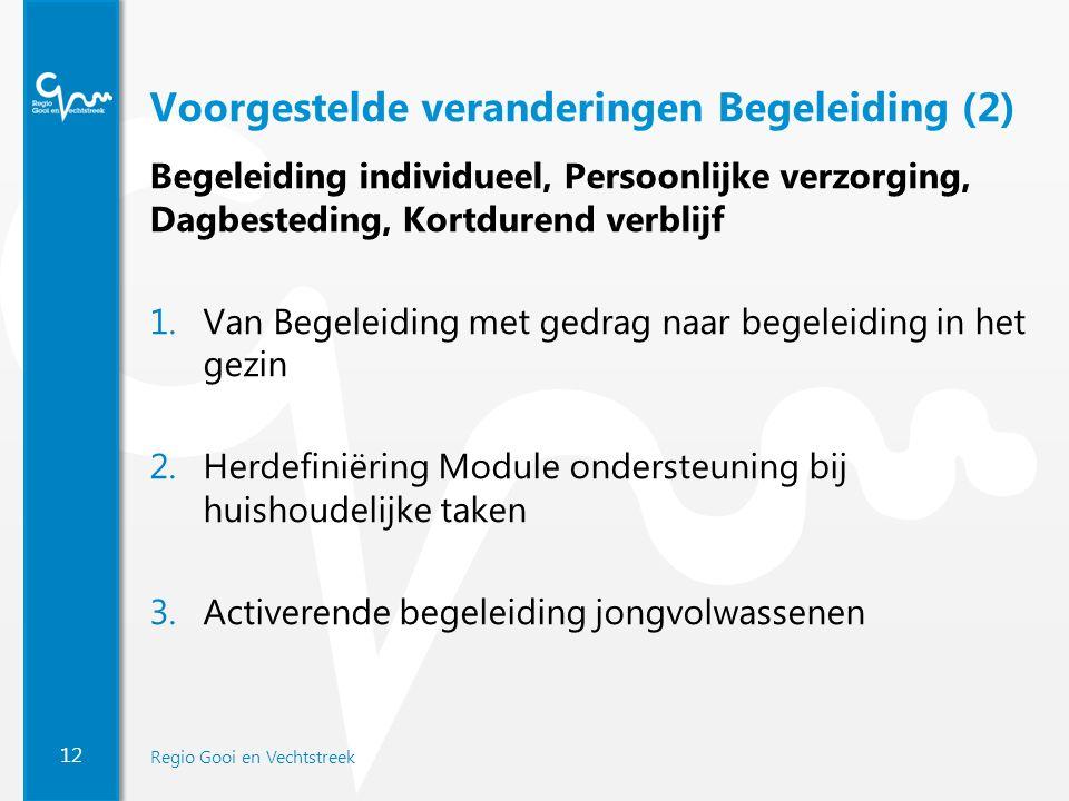 12 Regio Gooi en Vechtstreek Voorgestelde veranderingen Begeleiding (2) Begeleiding individueel, Persoonlijke verzorging, Dagbesteding, Kortdurend ver
