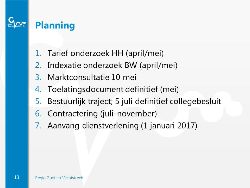 13 Regio Gooi en Vechtstreek Planning 1.Tarief onderzoek HH (april/mei) 2.Indexatie onderzoek BW (april/mei) 3.Marktconsultatie 10 mei 4.Toelatingsdoc