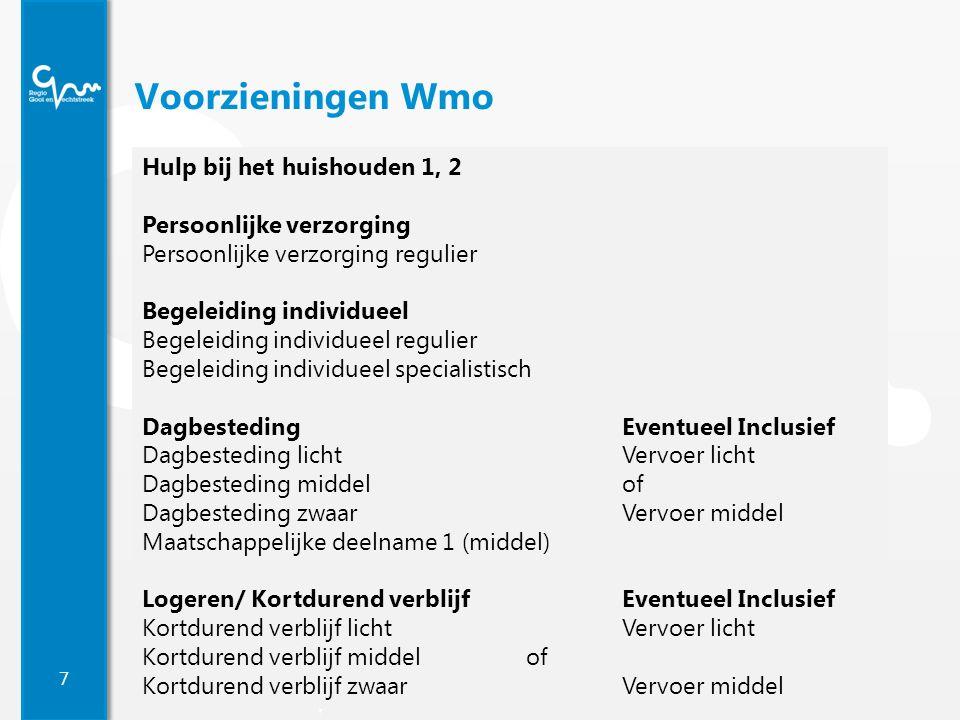 7 Regio Gooi en Vechtstreek Voorzieningen Wmo Hulp bij het huishouden 1, 2 Persoonlijke verzorging Persoonlijke verzorging regulier Begeleiding indivi