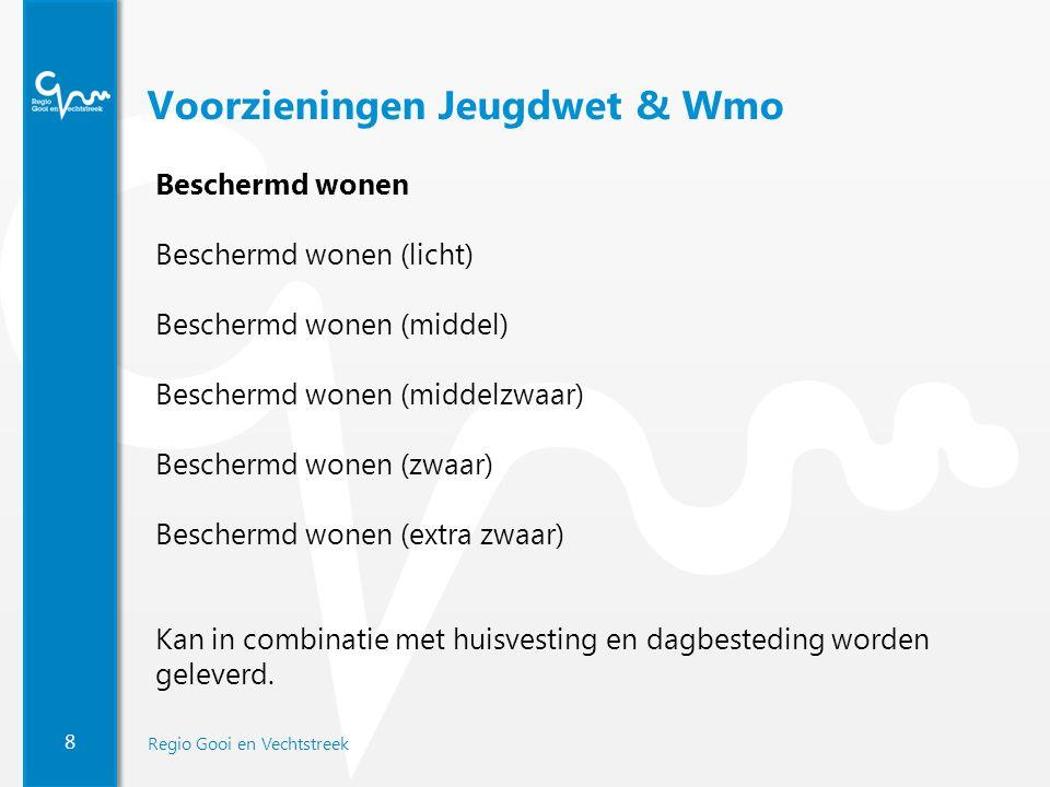 8 Regio Gooi en Vechtstreek Voorzieningen Jeugdwet & Wmo Beschermd wonen Beschermd wonen (licht) Beschermd wonen (middel) Beschermd wonen (middelzwaar