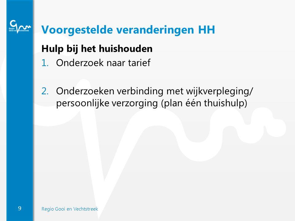 9 Regio Gooi en Vechtstreek Voorgestelde veranderingen HH Hulp bij het huishouden 1.Onderzoek naar tarief 2.Onderzoeken verbinding met wijkverpleging/ persoonlijke verzorging (plan één thuishulp)