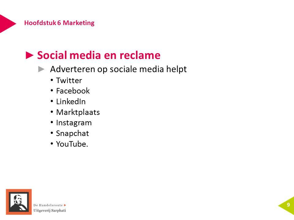 Hoofdstuk 6 Marketing 9 ► Social media en reclame ► Adverteren op sociale media helpt Twitter Facebook LinkedIn Marktplaats Instagram Snapchat YouTube