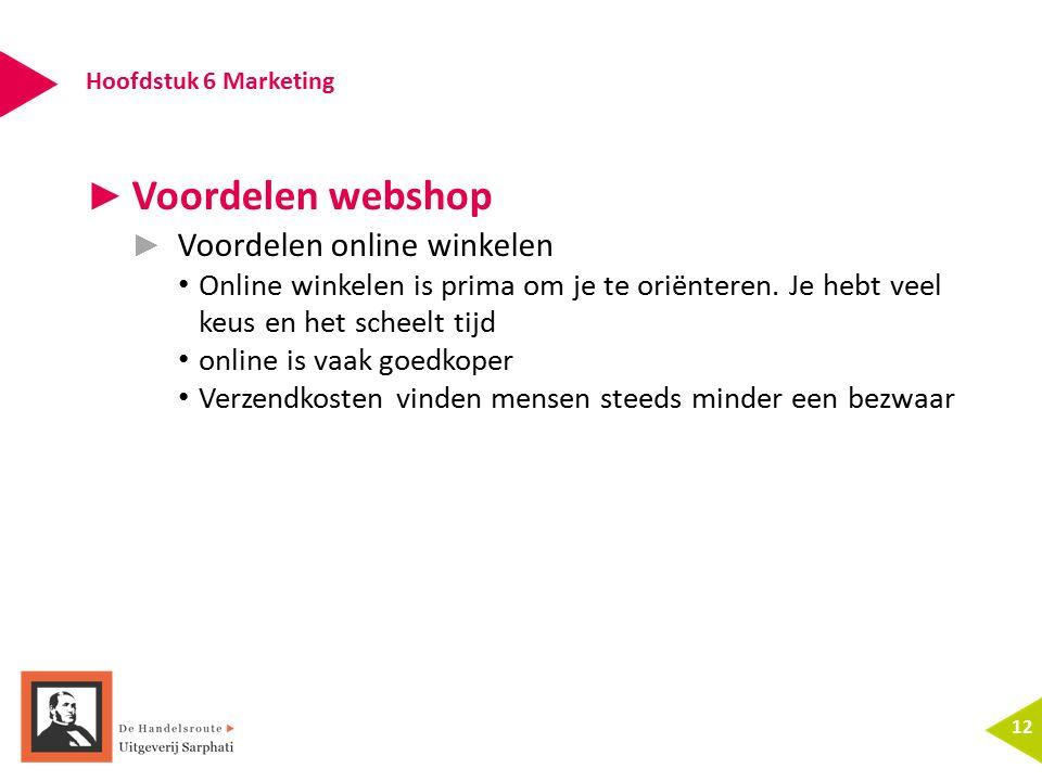 Hoofdstuk 6 Marketing 12 ► Voordelen webshop ► Voordelen online winkelen Online winkelen is prima om je te oriënteren. Je hebt veel keus en het scheel