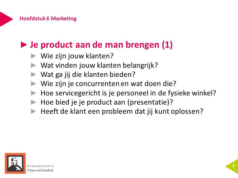 Hoofdstuk 6 Marketing 2 ► Je product aan de man brengen (1) ► Wie zijn jouw klanten? ► Wat vinden jouw klanten belangrijk? ► Wat ga jij die klanten bi