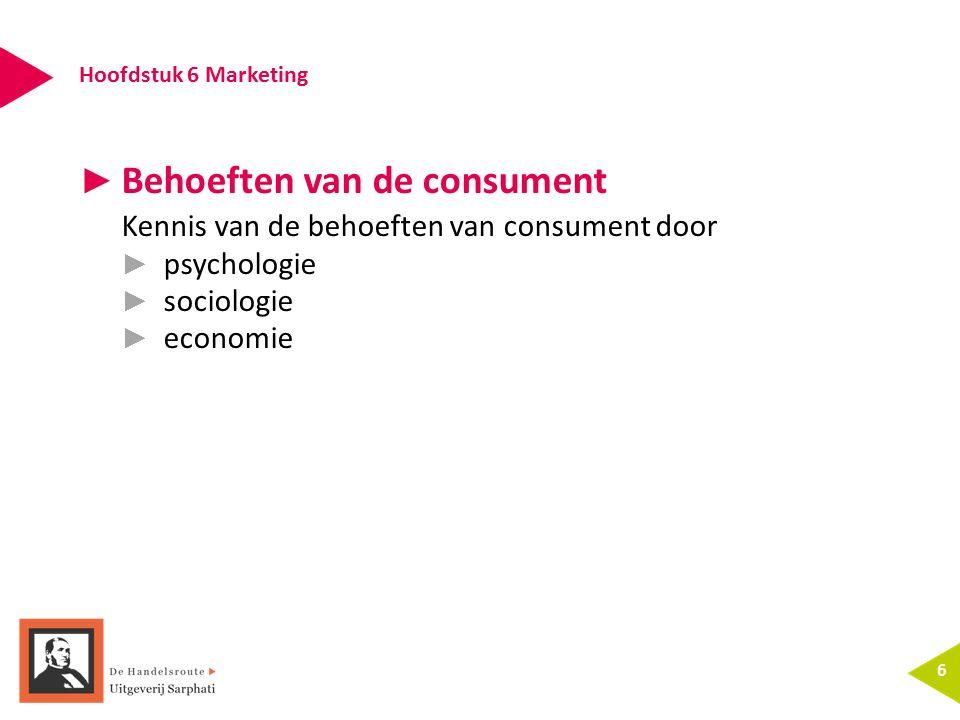 Hoofdstuk 6 Marketing 6 ► Behoeften van de consument Kennis van de behoeften van consument door ► psychologie ► sociologie ► economie