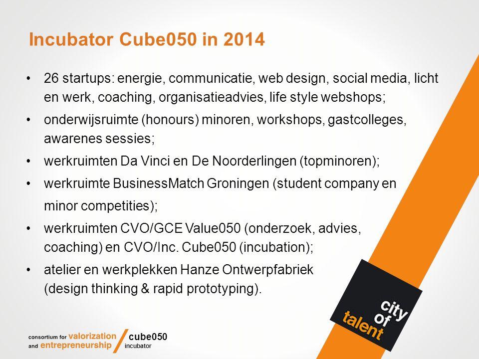 Incubator Cube050 in 2014 26 startups: energie, communicatie, web design, social media, licht en werk, coaching, organisatieadvies, life style webshops; onderwijsruimte (honours) minoren, workshops, gastcolleges, awarenes sessies; werkruimten Da Vinci en De Noorderlingen (topminoren); werkruimte BusinessMatch Groningen (student company en minor competities); werkruimten CVO/GCE Value050 (onderzoek, advies, coaching) en CVO/Inc.