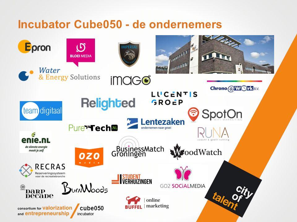 Incubator Cube050 - community/communicatie Periodieke 'speed dates' van studenten met ondernemers (150); juryrondes competitie BMG voor student companies (200); colleges voor minoren DV, NNL, BCO, OOM, O&T, O&I (300); wekelijkse nieuwsbrief (23.000); tweewekelijkse column in GIC en GOC (40.000); opname in Stadskracht en reportages OOG tv (?); dagelijkse tweets (1.500); start via het CRM/community/volgsysteem met (lunch) lezingen voor specifieke groepen studenten, docenten en ondernemers (3.000).