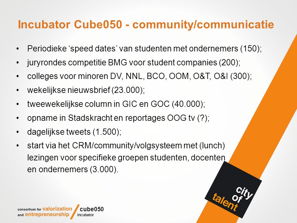 Incubator Cube050 - community/communicatie Periodieke 'speed dates' van studenten met ondernemers (150); juryrondes competitie BMG voor student compan