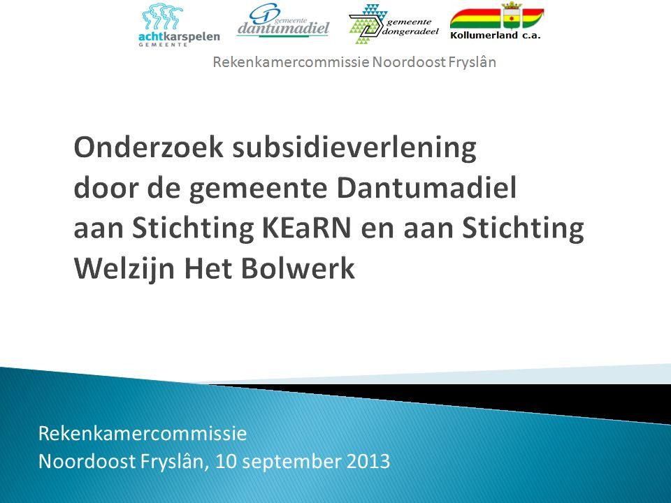 Rekenkamercommissie Noordoost Fryslân, 10 september 2013