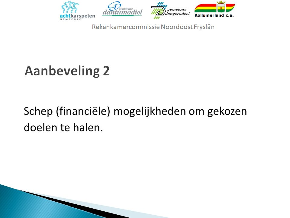 Schep (financiële) mogelijkheden om gekozen doelen te halen.