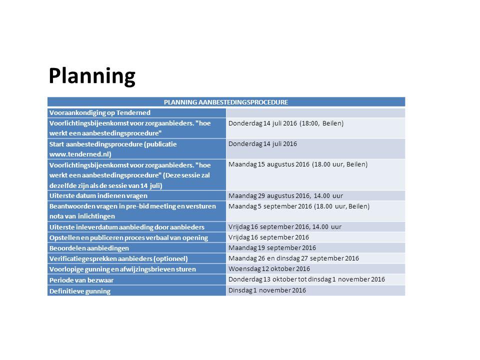 Planning PLANNING AANBESTEDINGSPROCEDURE Vooraankondiging op Tenderned Voorlichtingsbijeenkomst voor zorgaanbieders.