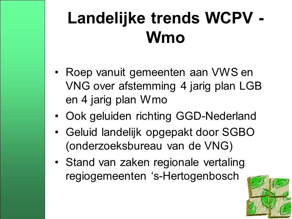 Landelijke trends WCPV - Wmo Roep vanuit gemeenten aan VWS en VNG over afstemming 4 jarig plan LGB en 4 jarig plan Wmo Ook geluiden richting GGD-Nederland Geluid landelijk opgepakt door SGBO (onderzoeksbureau van de VNG) Stand van zaken regionale vertaling regiogemeenten 's-Hertogenbosch