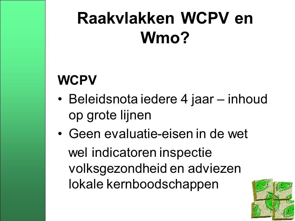 Raakvlakken WCPV en Wmo.