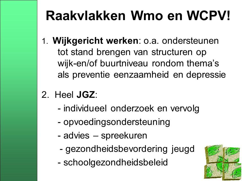 Raakvlakken Wmo en WCPV. 1. Wijkgericht werken: o.a.