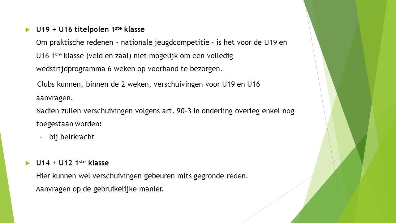  U19 + U16 titelpolen 1 ste klasse Om praktische redenen – nationale jeugdcompetitie – is het voor de U19 en U16 1 ste klasse (veld en zaal) niet mogelijk om een volledig wedstrijdprogramma 6 weken op voorhand te bezorgen.