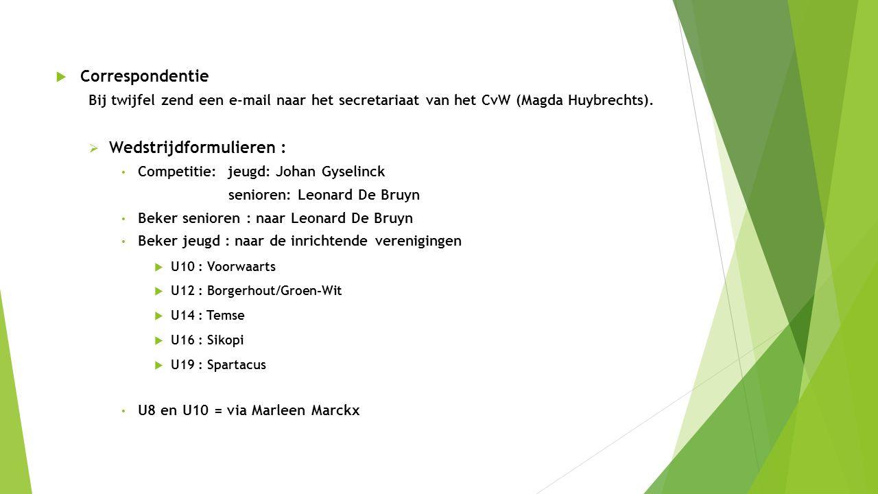  Correspondentie Bij twijfel zend een e-mail naar het secretariaat van het CvW (Magda Huybrechts).  Wedstrijdformulieren : Competitie: jeugd: Johan