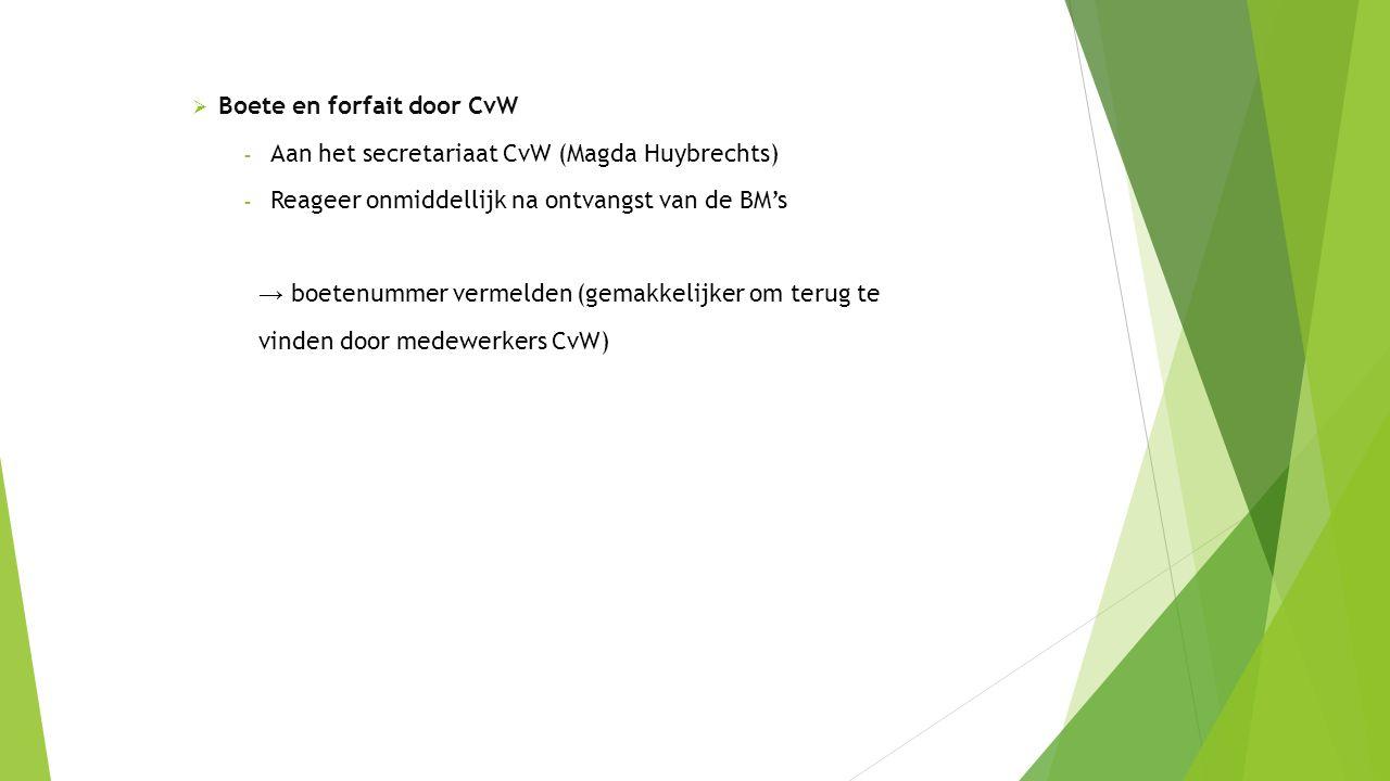  Boete en forfait door CvW - Aan het secretariaat CvW (Magda Huybrechts) - Reageer onmiddellijk na ontvangst van de BM's → boetenummer vermelden (gemakkelijker om terug te vinden door medewerkers CvW)