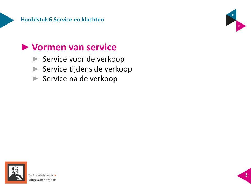 Hoofdstuk 6 Service en klachten 3 ► Vormen van service ► Service voor de verkoop ► Service tijdens de verkoop ► Service na de verkoop