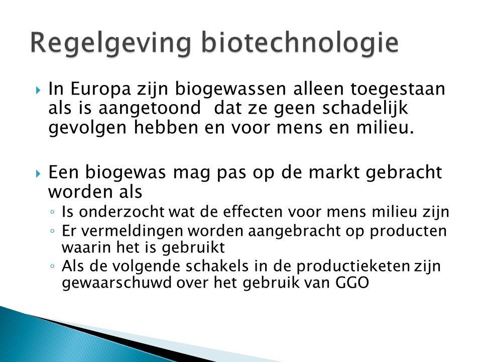  In Europa zijn biogewassen alleen toegestaan als is aangetoond dat ze geen schadelijk gevolgen hebben en voor mens en milieu.