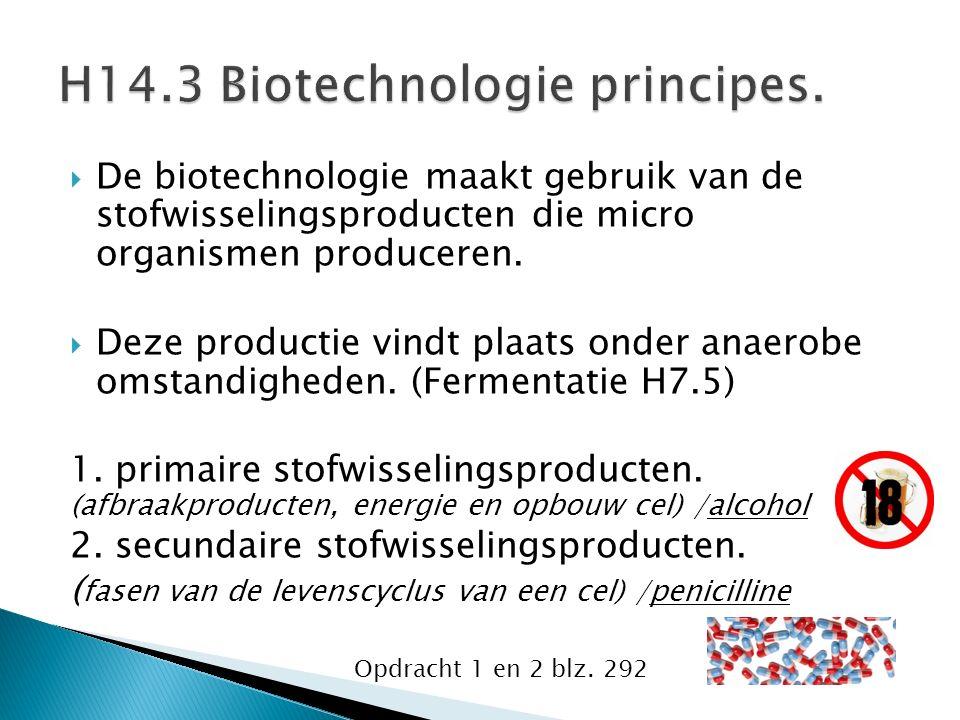  De biotechnologie maakt gebruik van de stofwisselingsproducten die micro organismen produceren.
