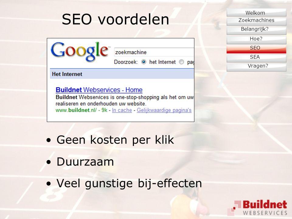 SEO voordelen Geen kosten per klik Duurzaam Veel gunstige bij-effecten Zoekmachines Belangrijk.