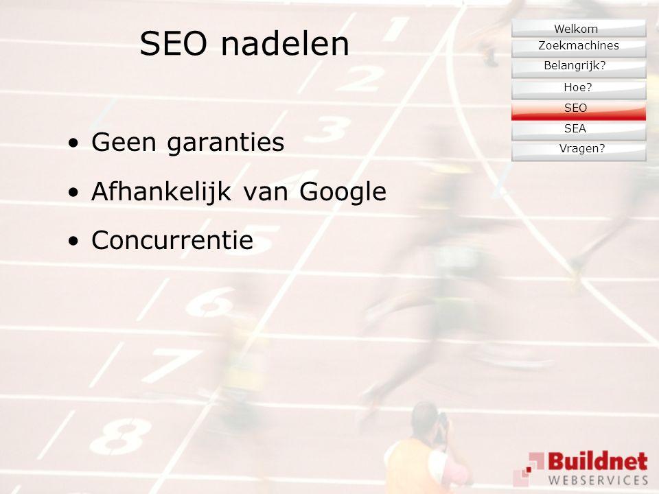 SEO nadelen Geen garanties Afhankelijk van Google Concurrentie Zoekmachines Belangrijk.