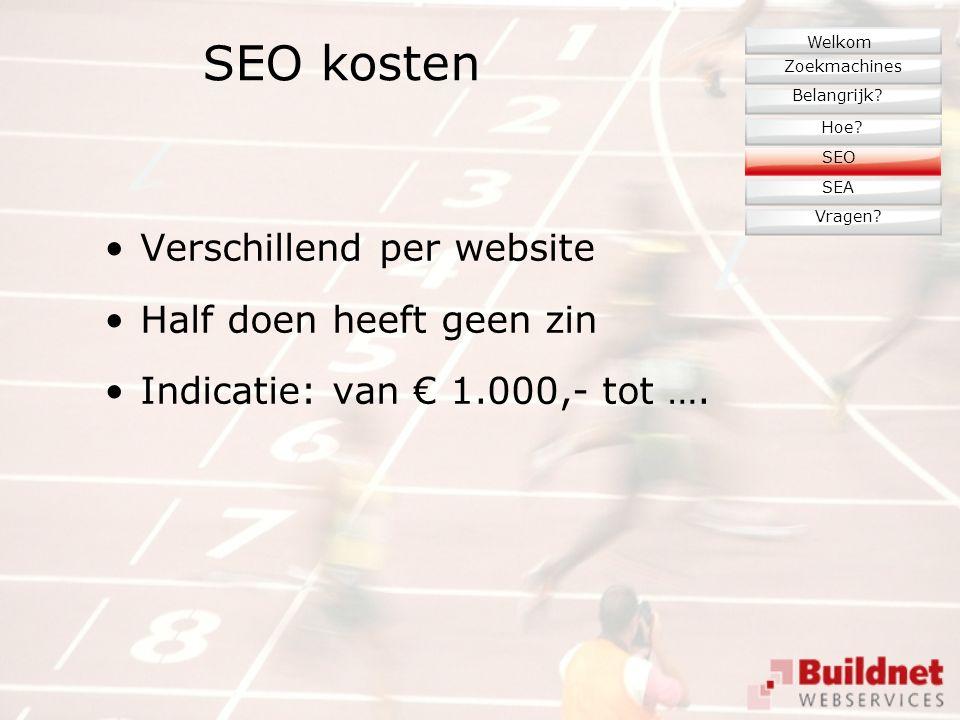 SEO kosten Verschillend per website Half doen heeft geen zin Indicatie: van € 1.000,- tot ….